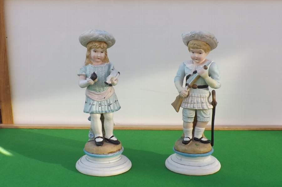 Boy & Girl German Figures in Biske circa 19th century perfect.B32
