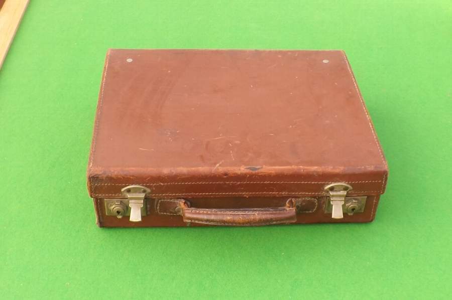 Leather small suitcase circa 1920's . B22