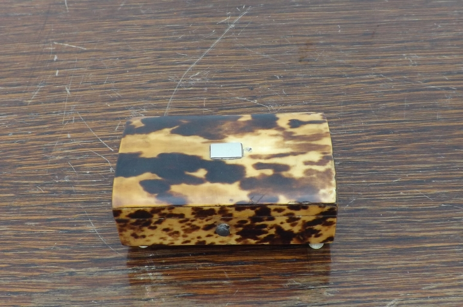 Tortoise shell table top snuff box. SB