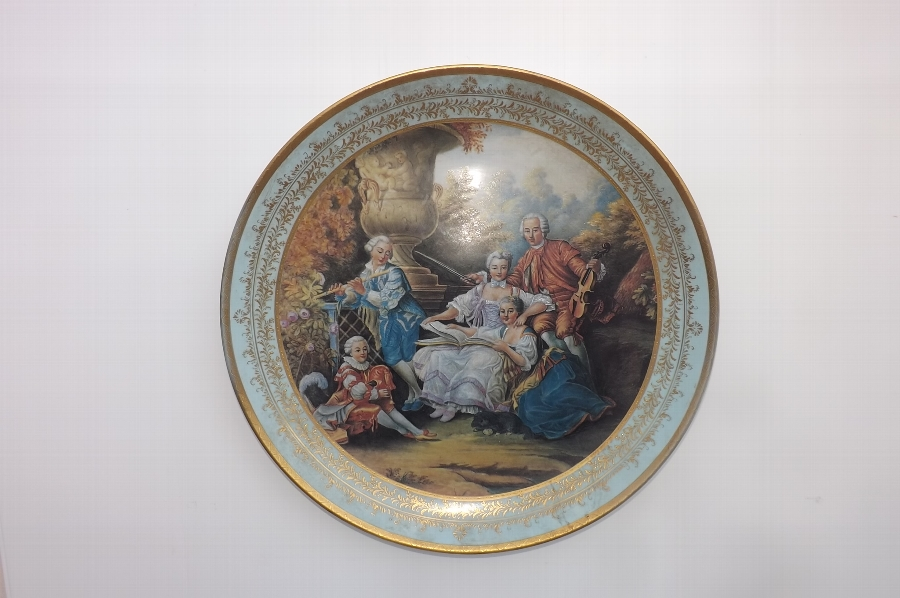 Large Viennese Charger with scenes from Georgian times quality beyond measure.