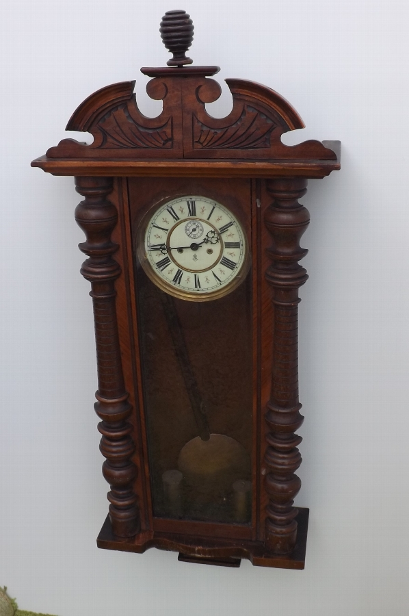 Clock Vienna Gustav Becker twin weight mahogany cased wallclock in working order