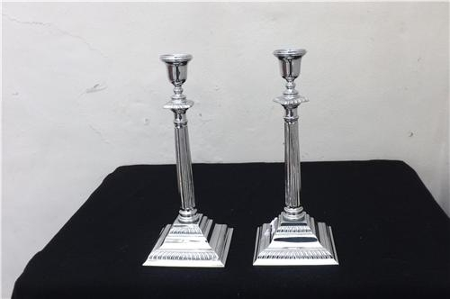Candle sticks pair of Georgian style plated quality items. B30