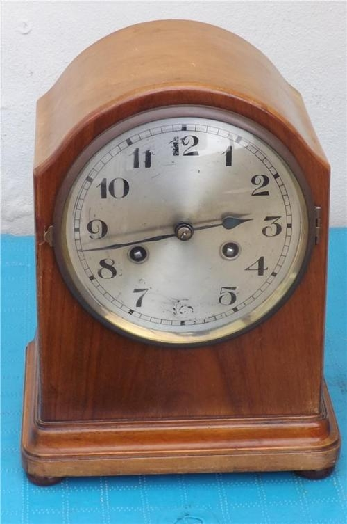 Bracket Clock large walnut case early 20th century. TS