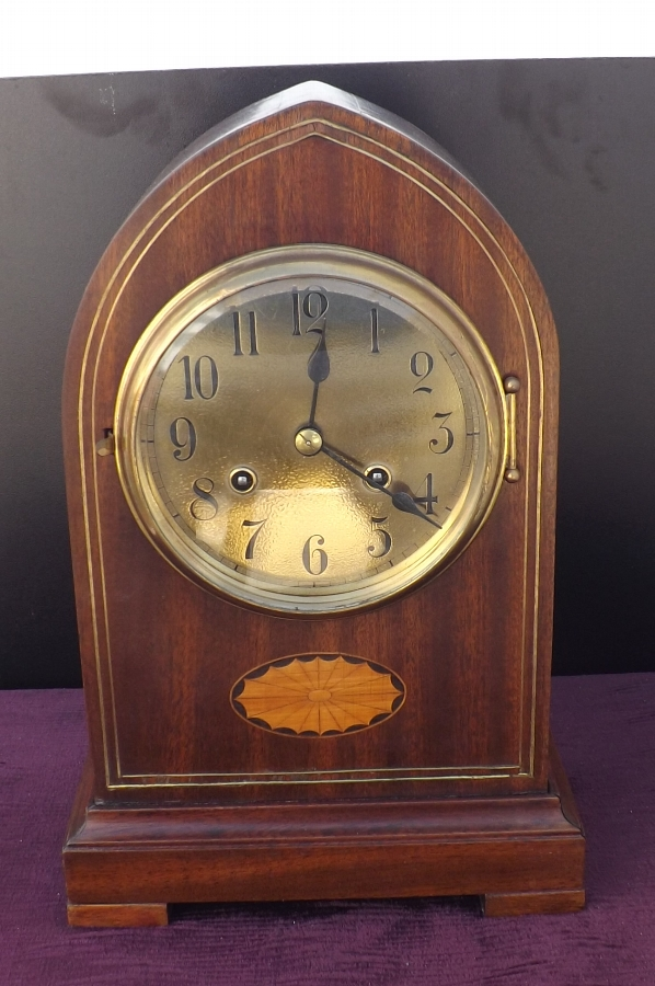 Gustav Becker Lancet Mahogany with brass & Shell inlay bracket clock. Edwardian