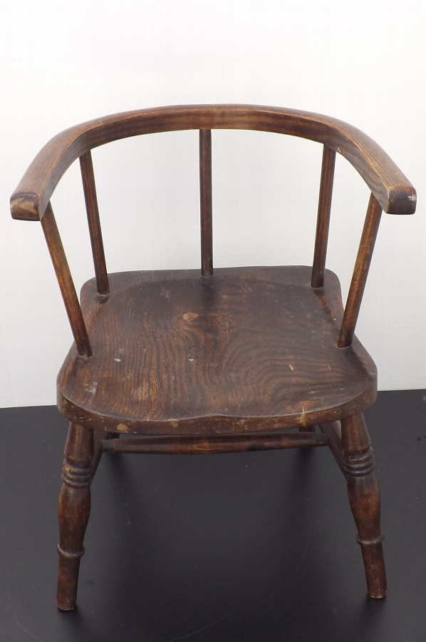 Windsor Chair Childs Low backed period elm constucted circa early 1800's