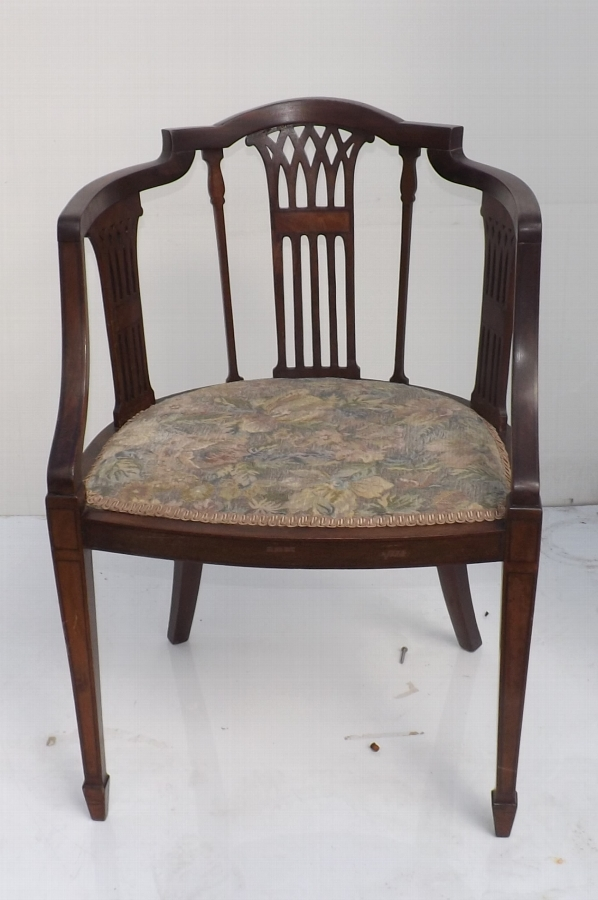 Armchair mahogany inlaid condition good Victorian desk/study item of quality
