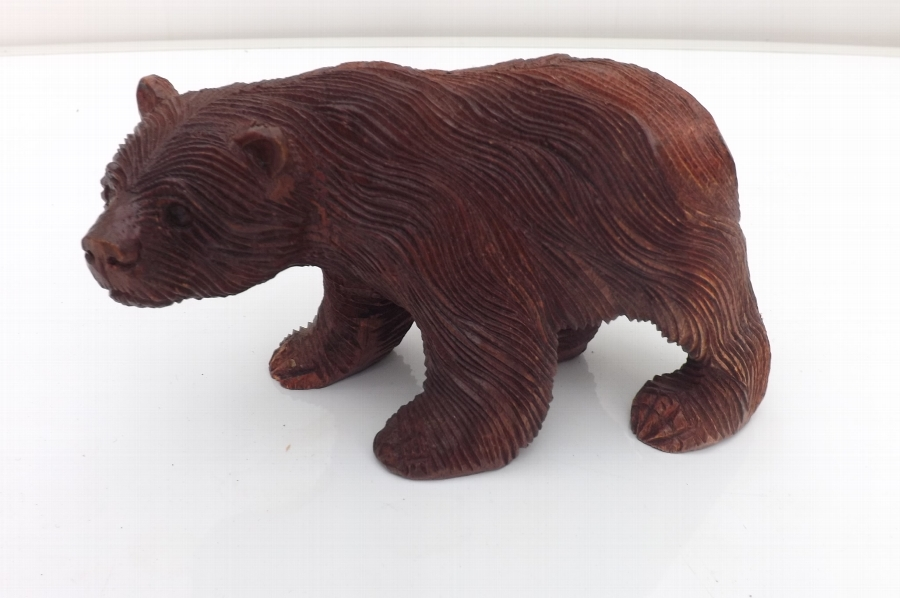 Black Forest carved wood bear vintage item. CC