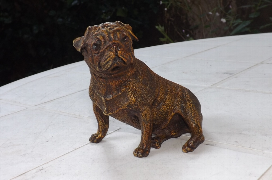Austrian cold painted Pugh dog signed stunning quality. CB