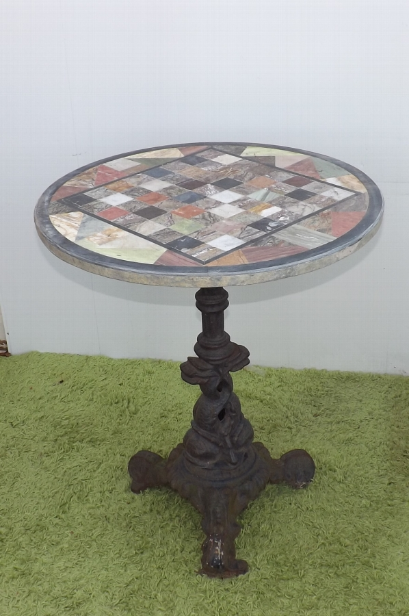 Chess top marble garden or patio table Victorian cast iron colebrookdale base
