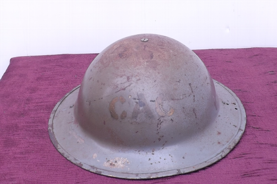 2ww British tin Helmet with liner & chin strap original paint