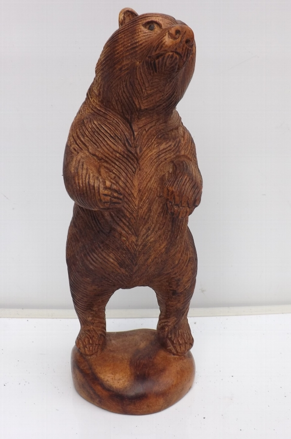 Bear standing on hind legs, wood Black forest carved. SB