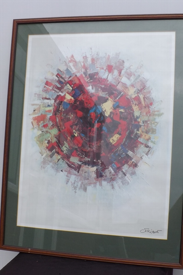 Framed coloured print by artist Friport