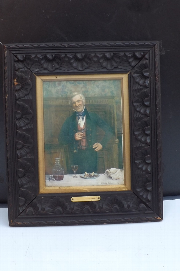 Rare prints of Georgian Gentlemen toast announcer's in bog oak frames.