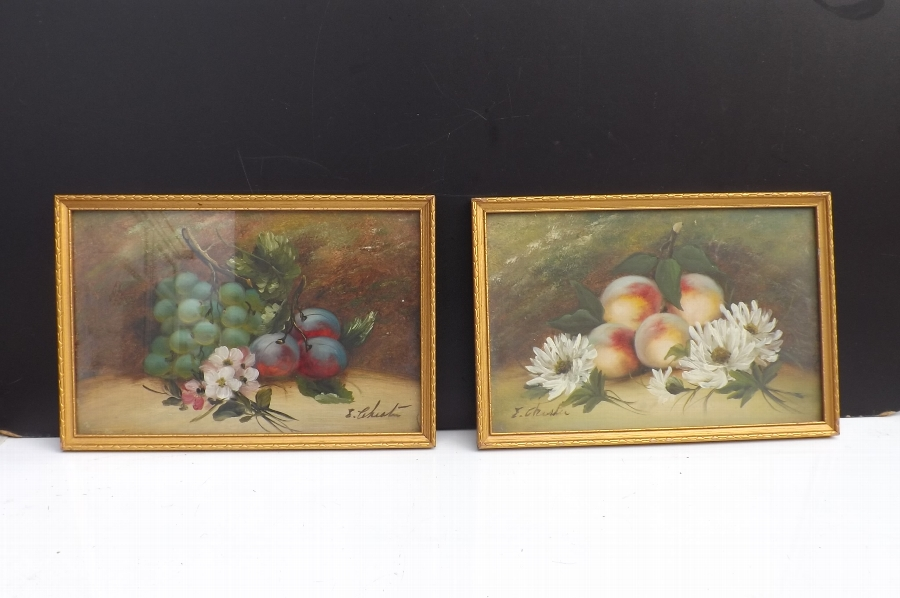 "Oil Paintings "" still Life "" on board by E Chester pair in quality frames. B36"