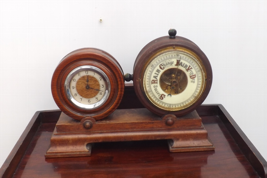 Clock & Barometer desk top item in oak & mahogany circa early 1900's, SB