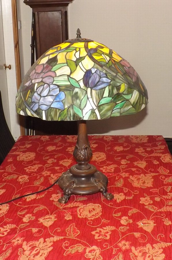 Large Table Lamp Vintage bronze base colourful leaded glass shade.