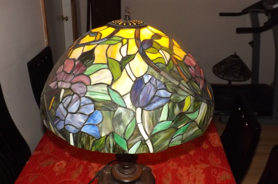 Antique Large Table Lamp Vintage bronze base colourful leaded glass shade.