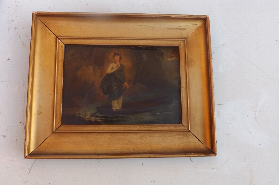 Painting Georgian small quality work comes framed. CC
