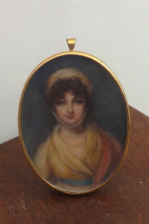original oil painting in miniature of Georgian dressed Lady nicely framed