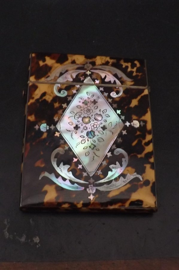 Card Case Victorian Tortoise shell with Mother of Pearl inlays