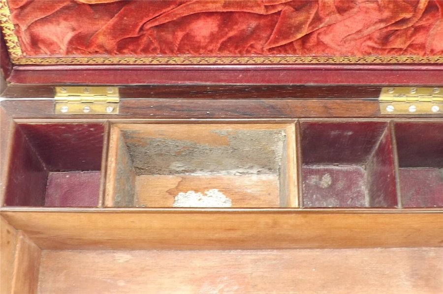 Antique Box in rosewood containing ladies vanity items stunning item of quality. B37
