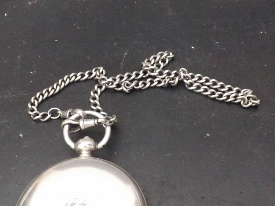 Antique solid silver pocketwatch with chain