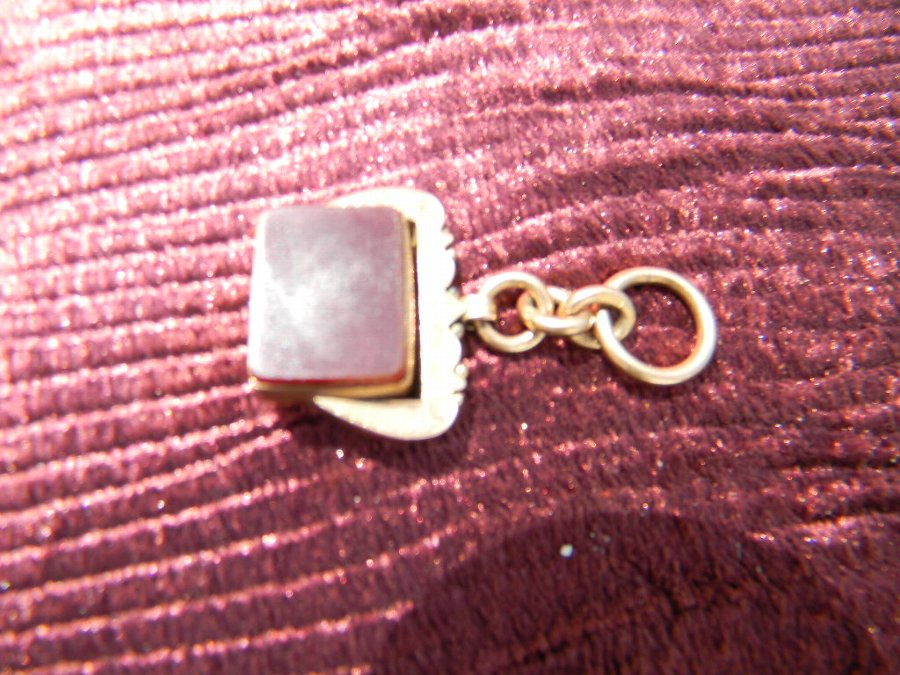 Gold 9ct watch chain fob with precious stone