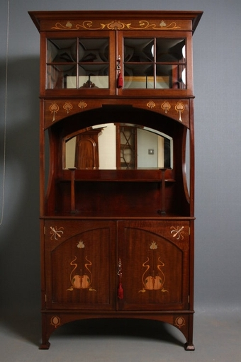 Antique Pair of Art Nouveau Display Cabinets sn2122
