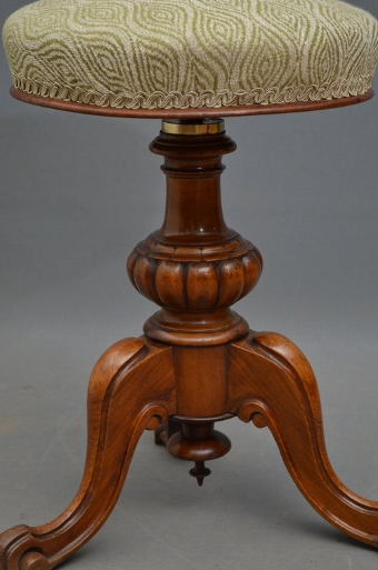 Antique Attractive Victorian Walnut Piano Stool Sn2945