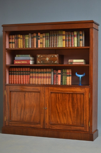 Antique Victorian Open Bookcase with Cupboard Sn2960