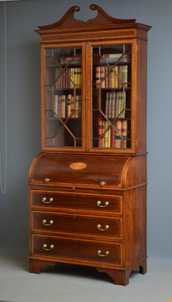 Antique Edwardian Cylindrical Bureau Bookcase Sn2984