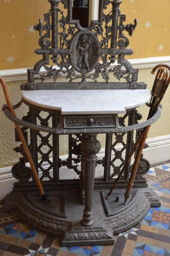 Antique Excellent Victorian Cast Iron Hall Stand Sn020