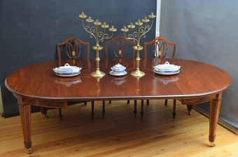 Antique Fine Edwardian Dining Table + Set of 8 Chairs sn3163