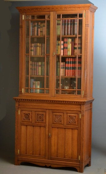 Antique Superb Gillows Library Bookcase in Oak Sn3257