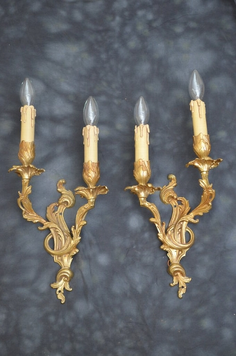 Antique A Pair of French Gilded Wall Lights Sn3319