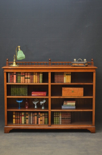 Antique Victorian Walnut 2 Sections Open Bookcase Sn3325