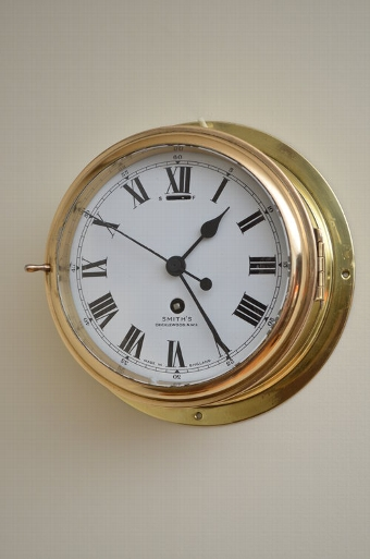 Antique 7? Brass Ship's Clock by Smith's Cricklewood sn3349