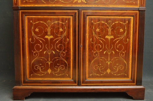 Antique Superb Edwardian Inlaid Secretaire Bookcase by Edwards and Roberts sn2873