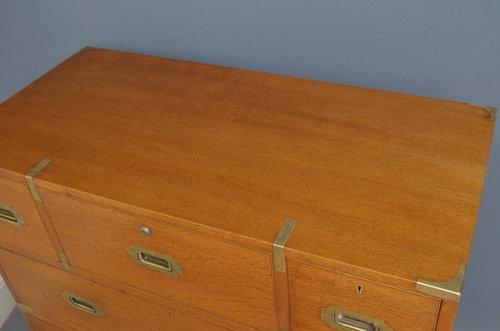 Antique Victorian Oak Military Chest of Drawers Sn2948