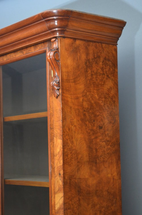 Antique Victorian Burr Walnut Glazed Bookcase Sn2988