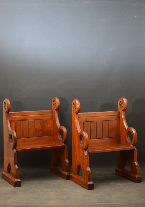 Antique Attractive Pair of Victorian Pews Sn3022