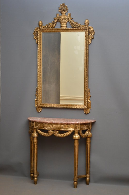 Antique Turn of the Century Console Table and Mirror Sn3033