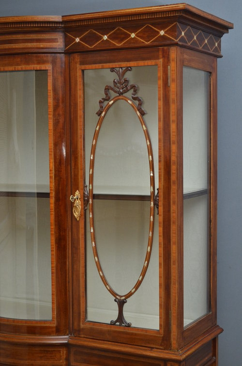 Antique Fine Edwardian Mahogany Display Cabinet - Vitrine Sn3084