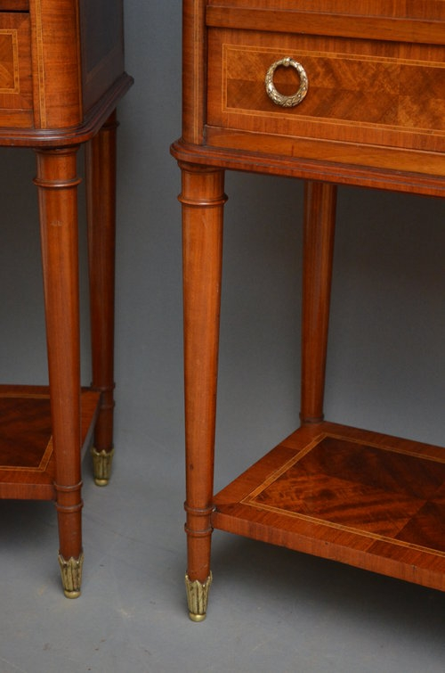 Antique Pair of Continental Bedside Cabiets Sn3147