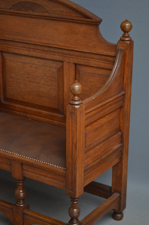 Antique Turn of the Century Oak Bench - Settle Sn3152