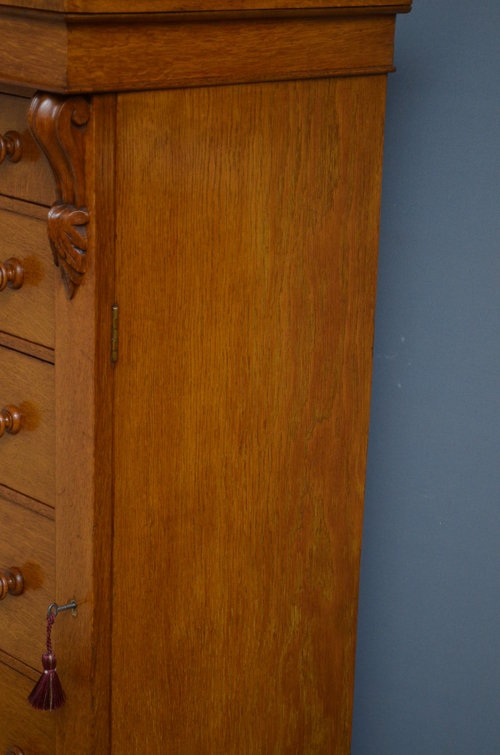 Antique Victorian Oak Wellington Chest of Drawers Sn3214