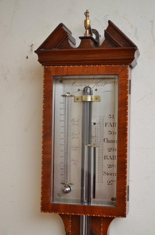 Antique Fine Regency Stick Barometer by Amicus Sn3198