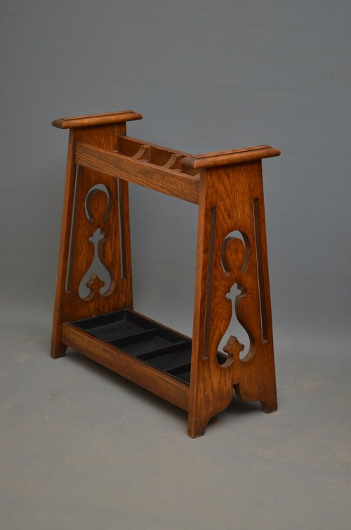 Stylish Arts and Crafts Umbrella Stand in Oak