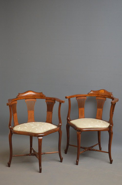 Fine and Rare Matching Pair of Corner Chairs