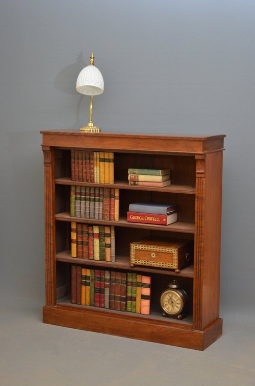 Attractive Victorian Open Bookcase in Walnut